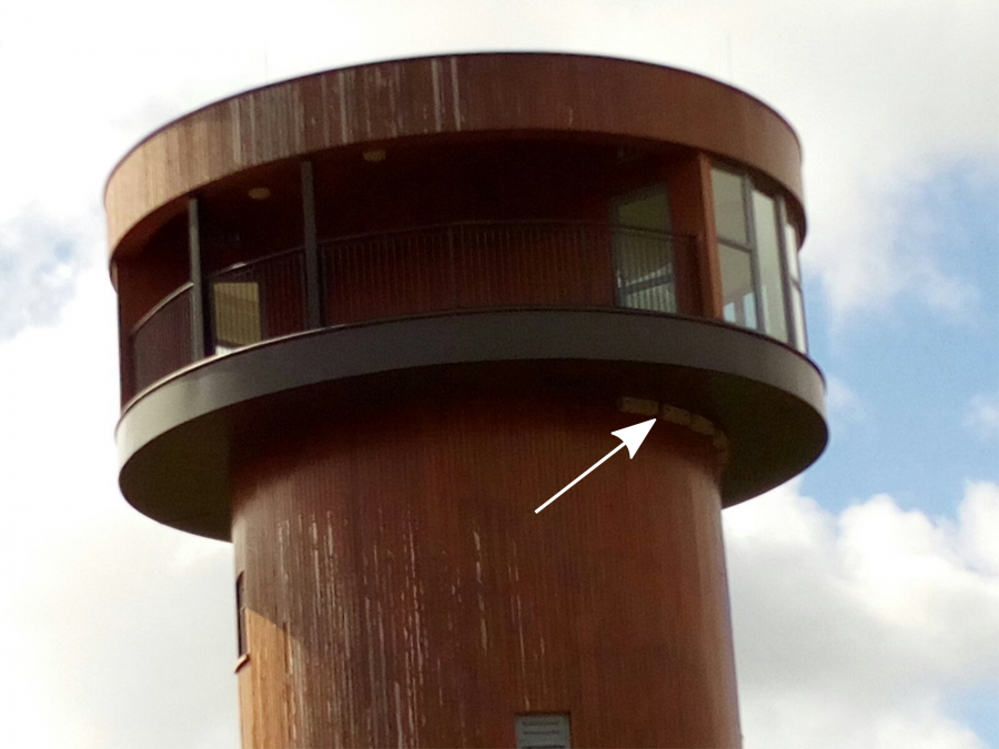 The Wetlands Project in Tralee - tower with Genesis Nest Boxes (indicated by white arrow)
