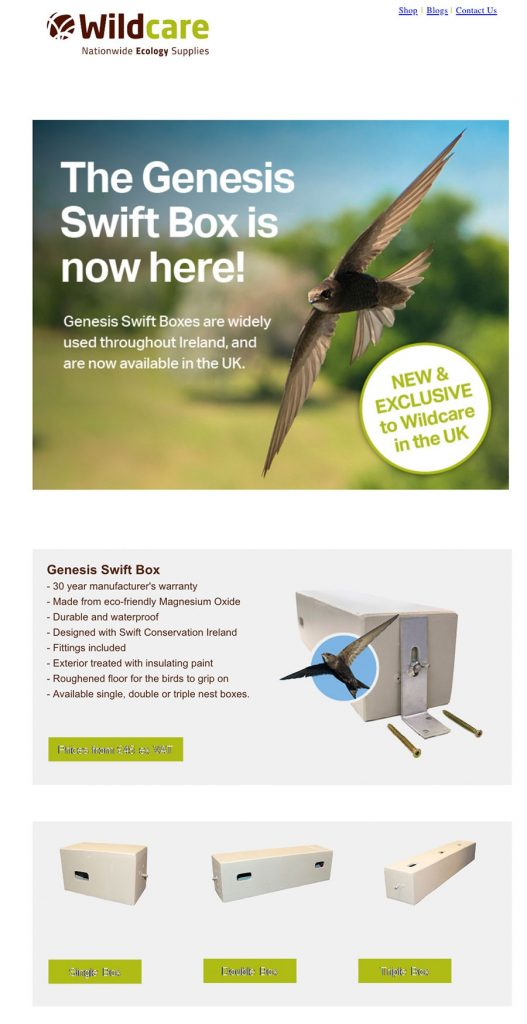 Wildcare Nationwide Ecology Supplies are now an outlet for Genesis Nest Boxes for Swifts